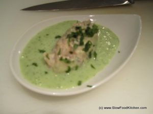 Mackerel Tartare with Minted Cucumber Soup
