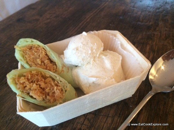 Malaysian Pandan pancakes with palm sugar and coconut stuffing