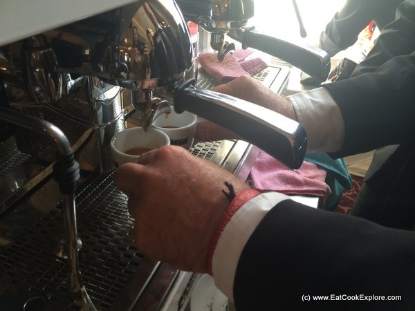 Letting the hot water flow for 25 seconds -Making Espresso