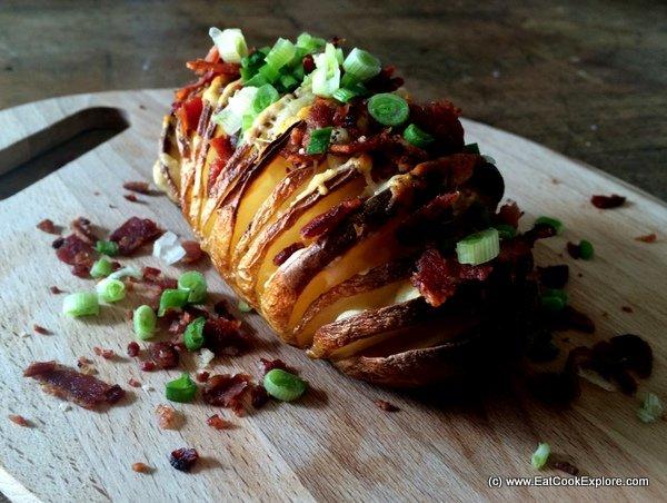 Hasselback Potatoes Recipe Bacon Cheese Hasselback Potatoes With Bacon