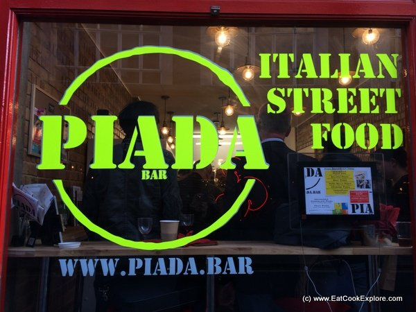 Eating Piada in Soho