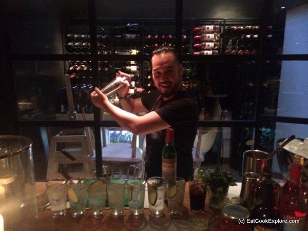 """""""G"""" Franklin mixing up some luxardo cocktails at obika"""