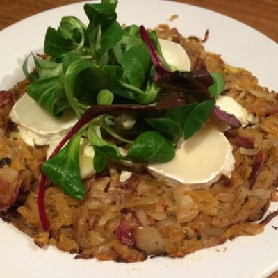 French Goats cheese, bacon and Sweet Potato Rosti