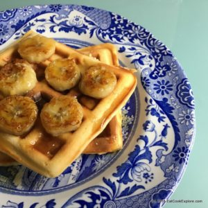 Gluten Free Almond Butter Waffles with caramelised bananas #WaffleDayChallenge #win