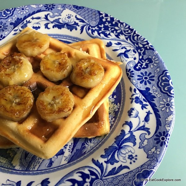 Gluten Free Almond Butter Waffles with caramelised bananas