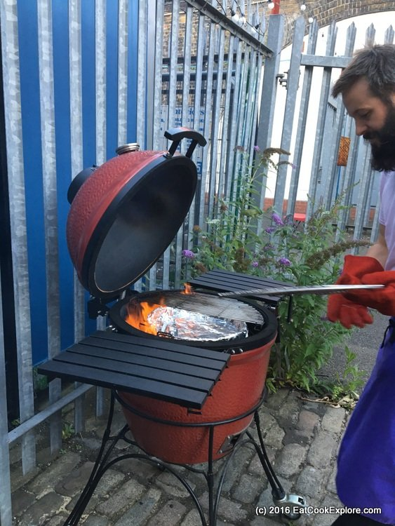 branstons-bbq-Flaming coal briquettes are used for heat
