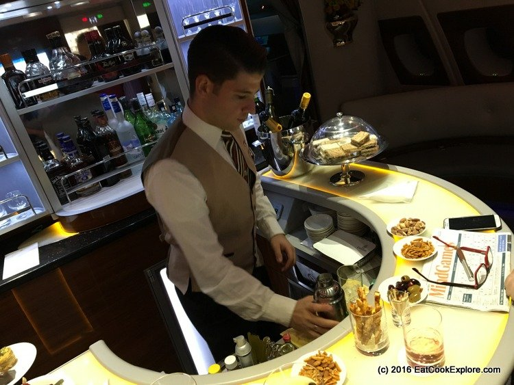 Cesar the Steward manning the Sky Bar in Emirates Business Class