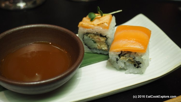 salmon with an egg yolk dipping sauce