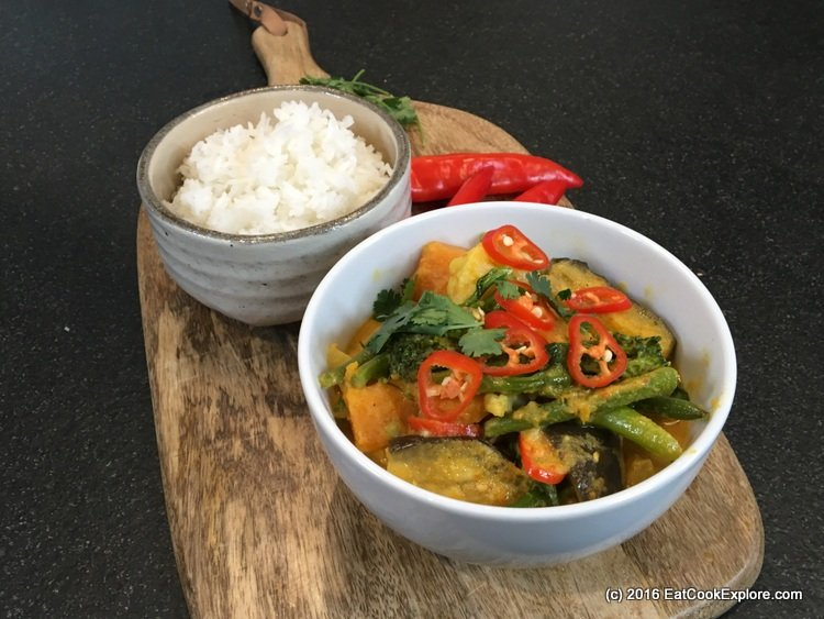 Malaysian Vegetable Curry with jasmine rice