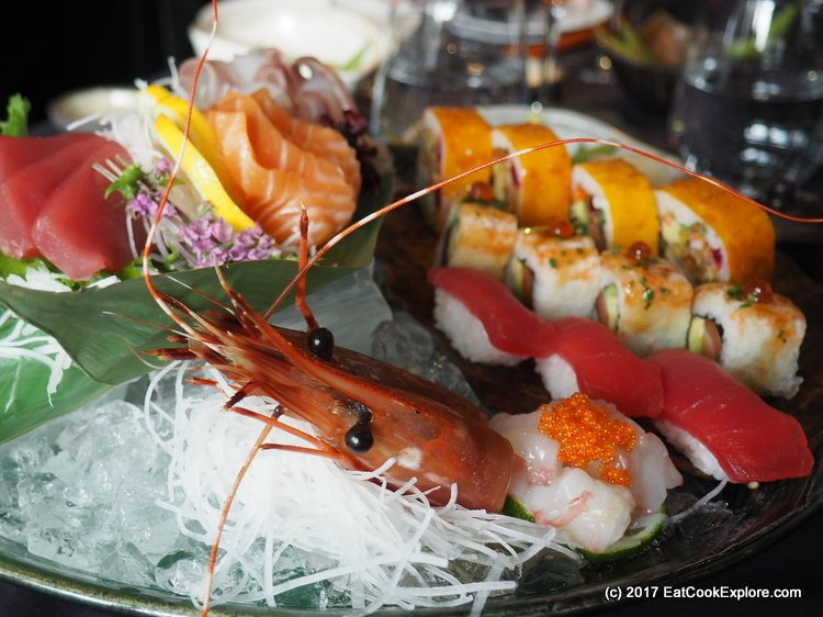 Sensational sushi and sashimi platters, served on specially commissioned crockery.