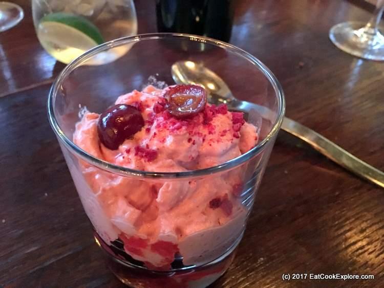 Picota cherries crema catalana foam at Iberica
