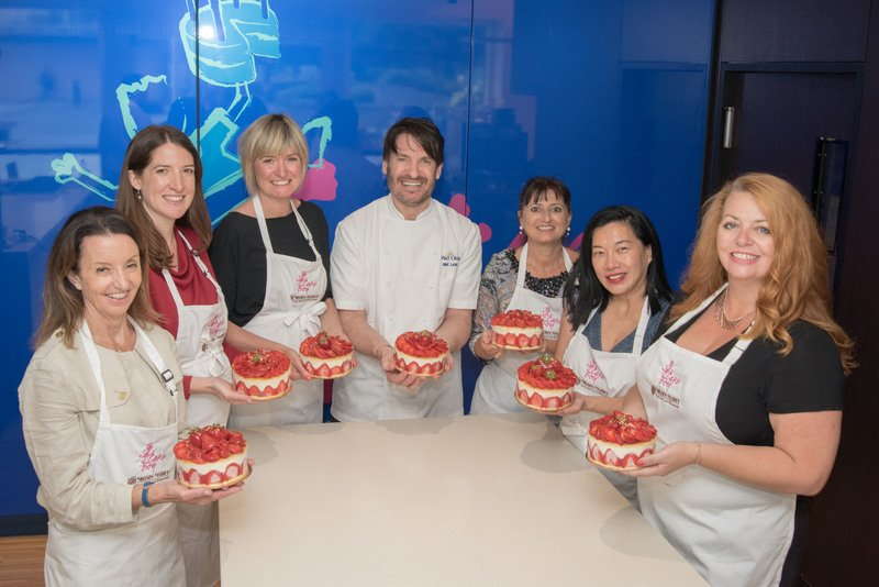 Fraisier cakes at baking class with eric lanlard