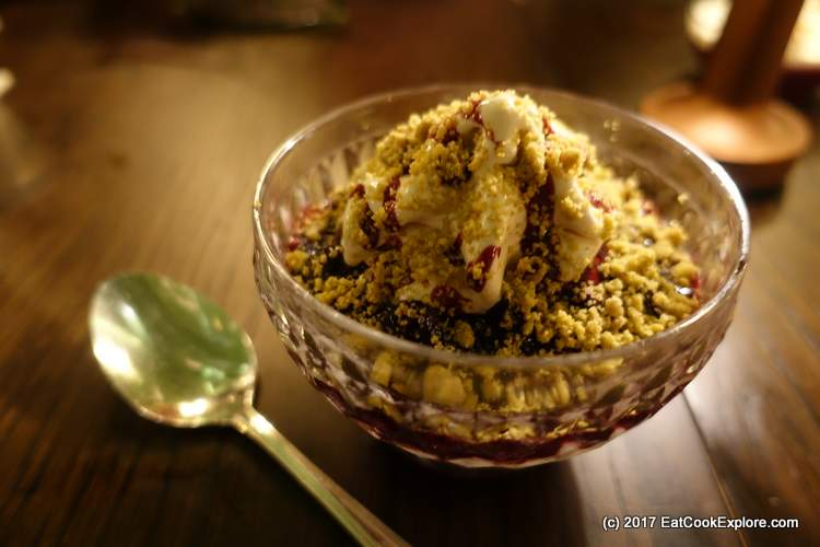 Dulcey Chocolate Soft Serve with blackberry compote, pistachio and almond crumble