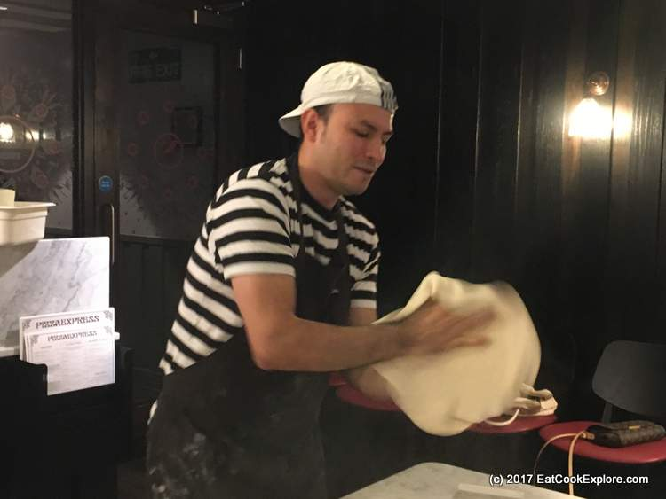 Pizza making tossing the dough