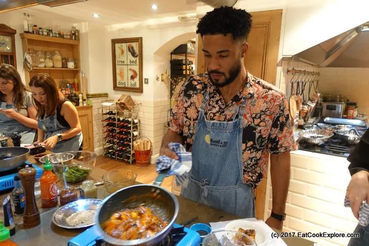 honey sriracha Hugo cooking the chicken