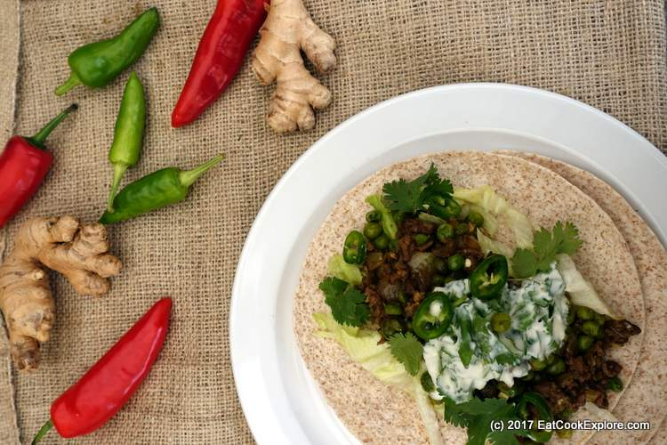 Spicy Minced Lamb Wrap