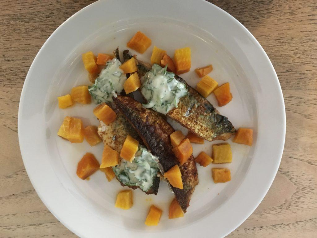 Crispy mackerel, pickled beetroot with yoghurt sauce
