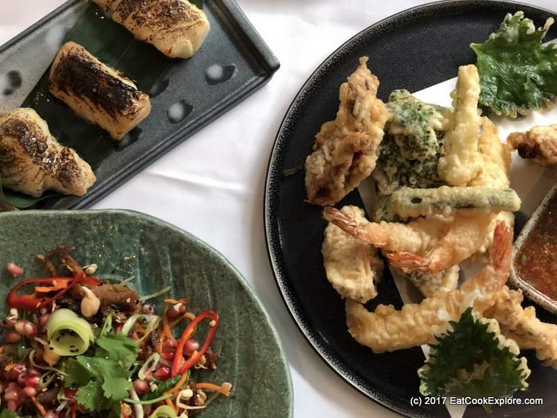 Crispy Duck Salad, Miso Cod and Tempura Devonshire Club
