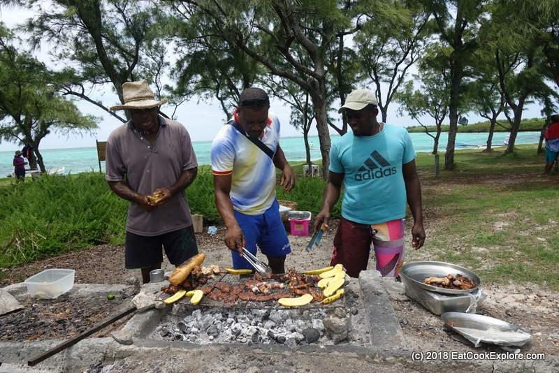 The boat drivers who have hidden talents as chefs, preparing the BBQ lunch