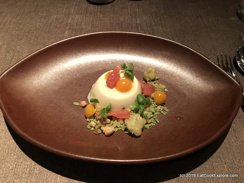 Lemongrass and Toasted Rice Panna Cotta with Lychee and Lime