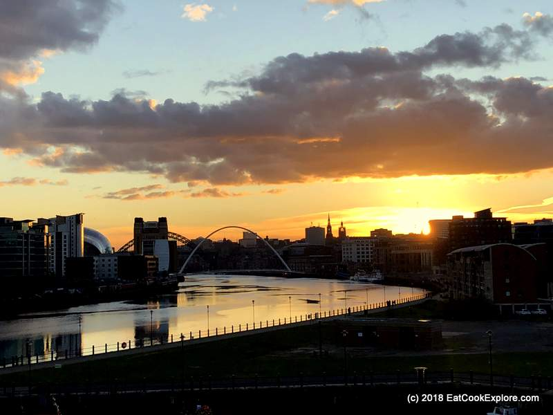 Newcastle Gateshead View of River Tyne at Sunset