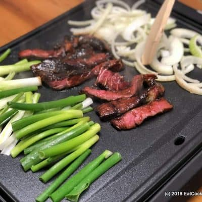 Korean BBQ Beef Bulgogi REcipe cooked on an electric table top grill