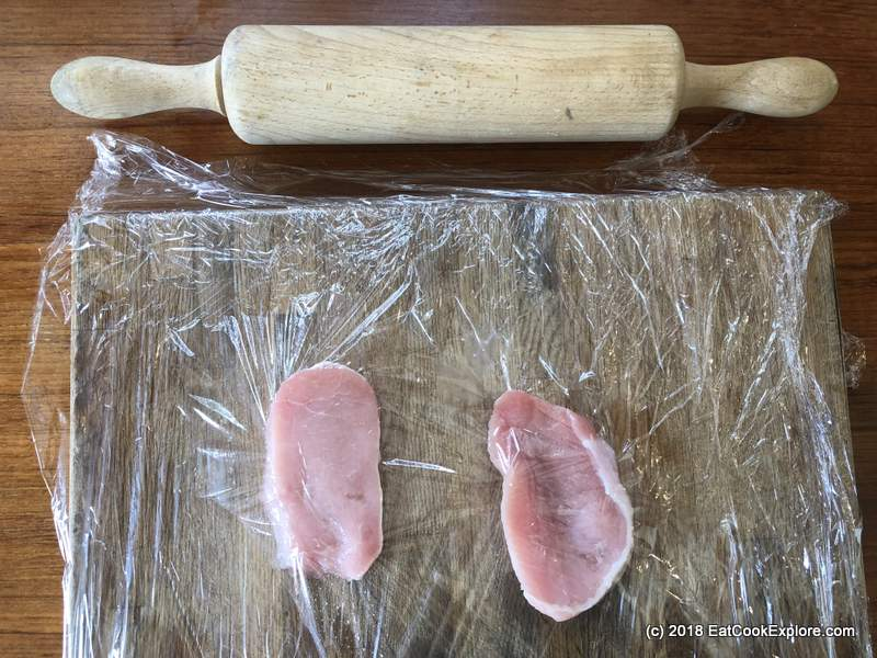 Japanese Pork shogayaki, beat pork to tenderise and make thinner