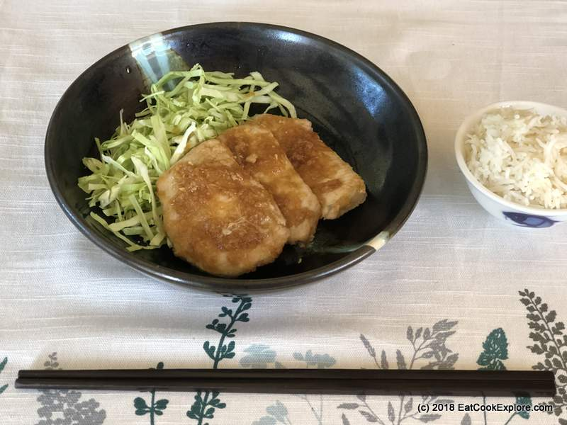 Japanese Ginger Pork shogayaki with shredded cabbage adn rice