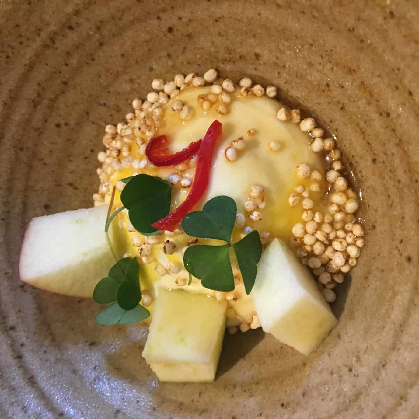Greek yogurt, lemon curd, fresh apple compote, chilli syrup and toasted puffed quinoa