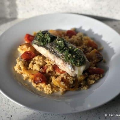 Low Carb Hake with Salsa Verde, Millet & tomato