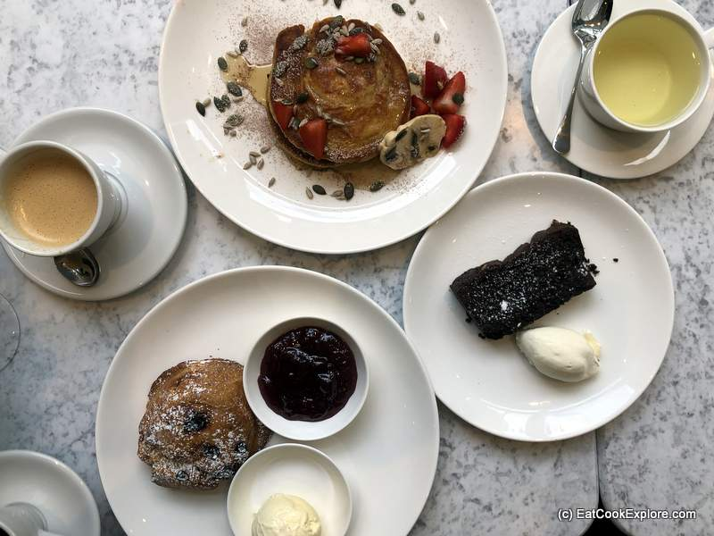 Brownies, Hot cakes and scone Liv Restaurant Belgravia