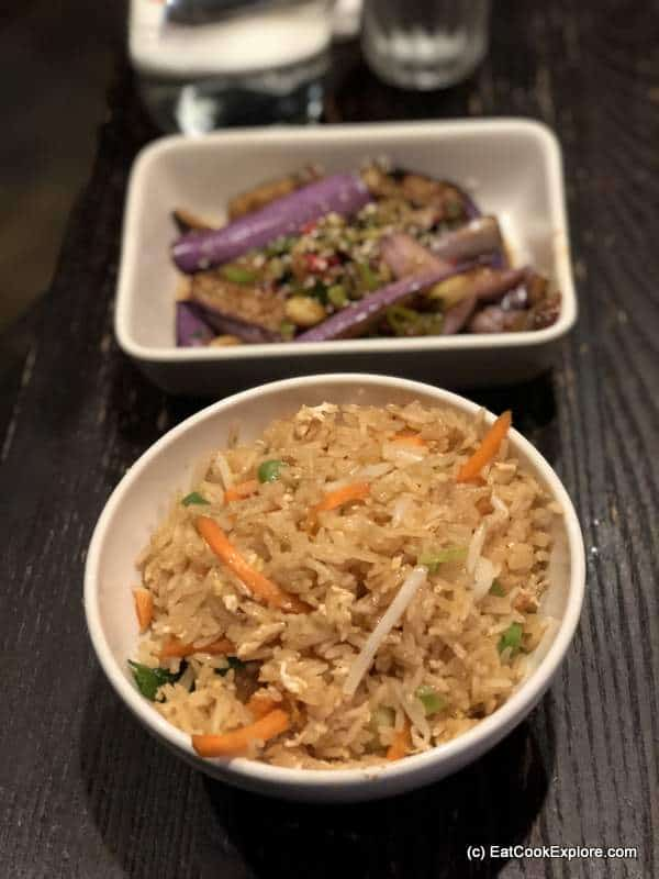 Fried rice and sticky aubergine at PF Chang's Asian Table Leicester Square