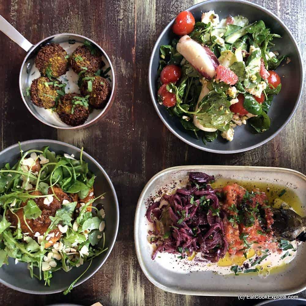 Melabes Israelie Food Kensington - Vegetarian starters Falafel, chargrilled aubergine and salads