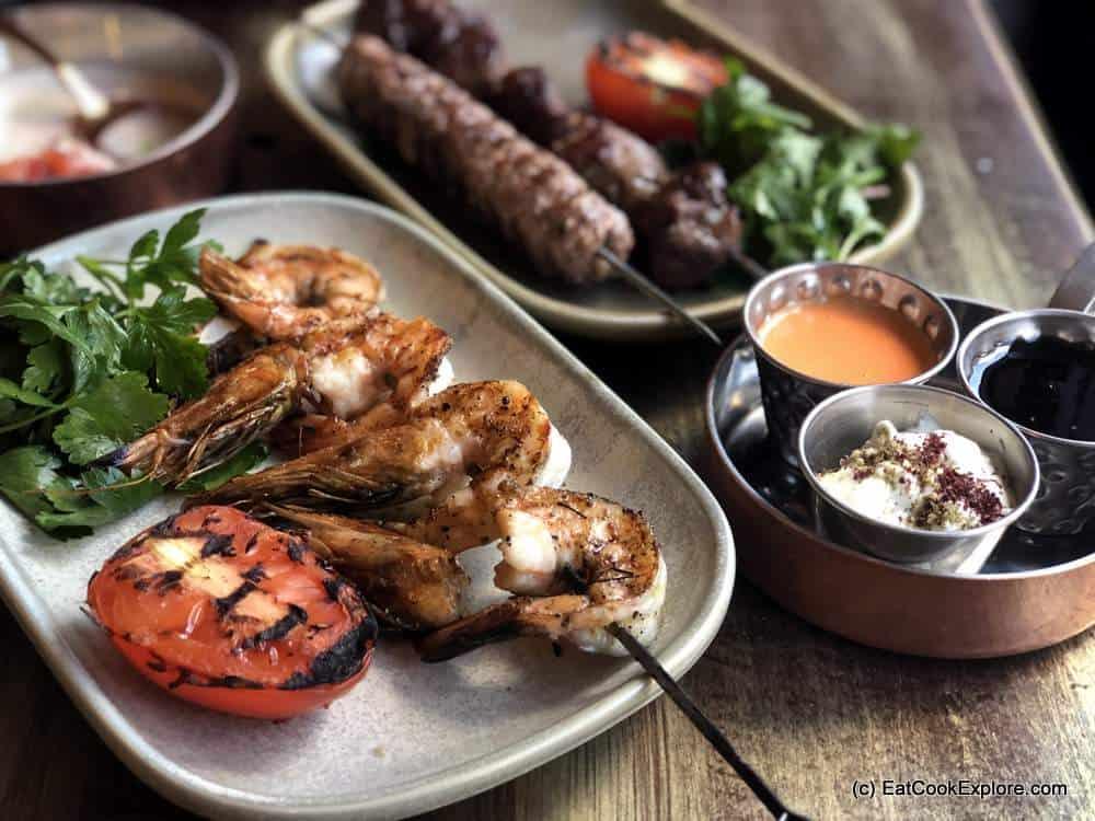 Melabes Israelie Food Kensington - Grilled prawns, kebabs and rib eye skewers