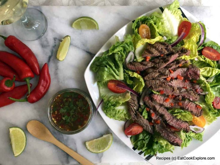 Weeping Tiger Thai Beef Salad using grass fed steak