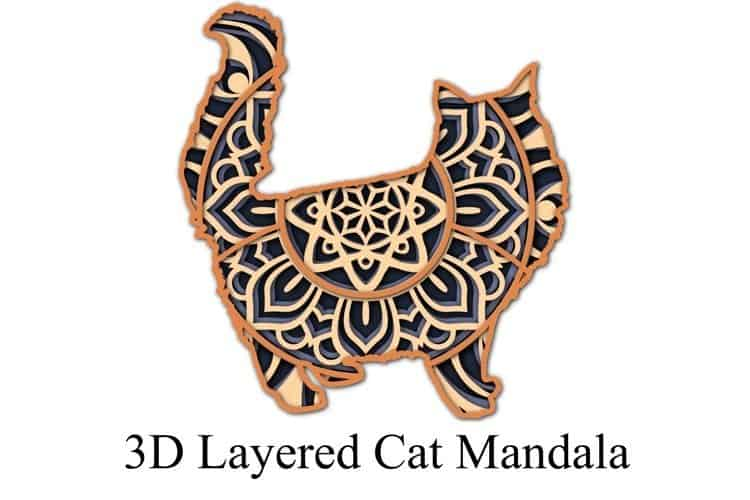 Design Bundles 3D paper cut template Mandala cat