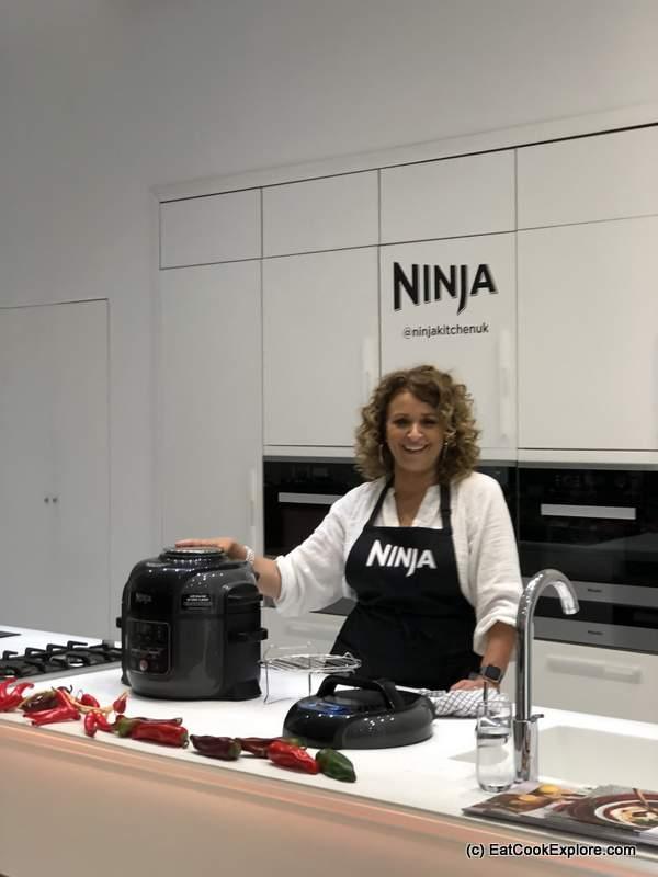 Nadia Sawalha demonstrating the Ninja Foodi