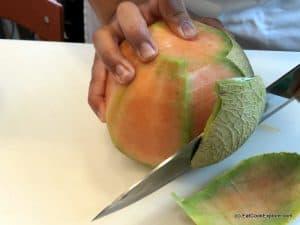 Mantua Melon Cut the rind off